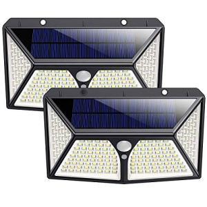 センサーライト 屋外 ソーラーライト 180LED 4面発光最新版高輝度 2個人感センサー 屋外照明 防犯 防水 太陽光発電 3つ点灯モード belem-code