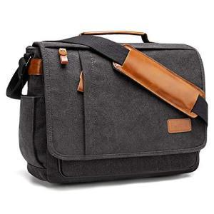 Estarer ショルダーバッグ メンズ 帆布 メッセンジャーバッグ 大容量 14インチ A4サイズ対応 サイドポケット ポケット18個 斜|belem-code