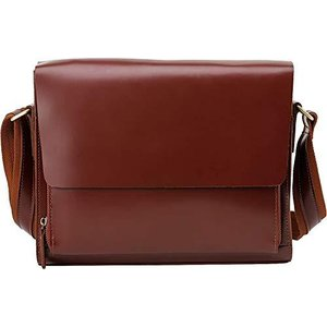 光沢感 本革 メンズ ショルダーバッグ 斜め掛け メッセンジャーバッグ 自転車鞄 A4対応 赤ブラウン|belem-code