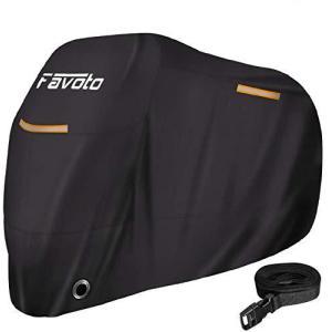 Favotoバイクカバー ワンタッチバックル前後付き 2.5m防風ベルト付き 反射ストライプ3枚 UVカット 高防風 防埃 防雨 防雪 丈夫 belem-code