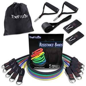 TheFitLife トレーニングチューブ チューブトレーニング 筋トレチューブ フィットネスチューブ - 超強化版 天然ラテックス製 5レ belem-code