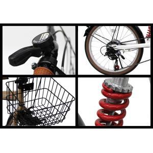 折りたたみ自転車 20インチ 折り畳み自転車 カゴ付き ワイヤー錠 LEDライトプレゼント シマノ6段変速 リアサス付 FS206LL|belkis|04