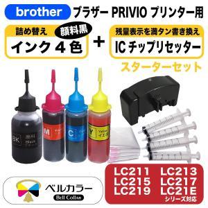 3年保証 ブラザー brother互換 LC211 LC213 LC215 LC21E 詰め替え互換インク4色 +ICチップリセッター ベルカラー製|bellcollar