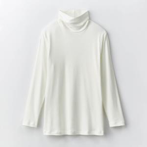 インナー 肌着 メンズ 長袖 タートルネック 綿100% 薄手 防寒 白 長め丈 暖かい 冬用 春用 吸湿 発熱 冷え対策 ムレにくい オフホワイト M L LL 3Lの画像