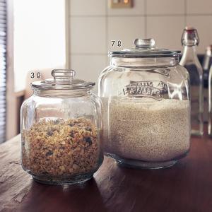 ベルメゾン ガラス 保存瓶 米びつ パッキン ライスストッカー 硝子 収納 キッチン 洗える お米 ...