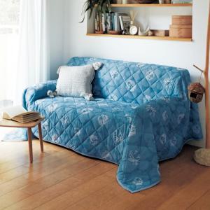マルチカバー ソファーカバー 接触冷感 ピアノカバー 北欧調 フラワー柄 ブルー 約100×190 ...