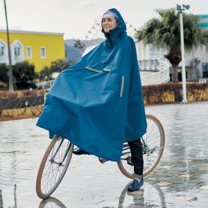 レインコート サイクルレインコート ブルー 雨合羽 ポンチョ型 フード付き 大きめ カゴまで隠れる ...