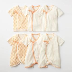 5b753ffeb4321 ベビー 肌着 短肌着 新生児 綿100% セット 3枚 コンビ肌着 メッシュ 通気性 オレンジ 50 60