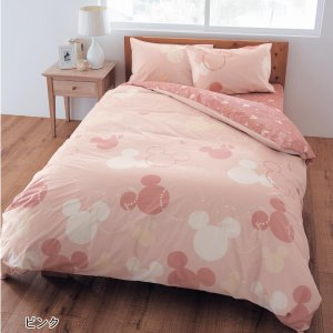 布団カバー 布団カバーセット ディズニー 綿100%の布団カバー3点セット 「ピンク」(洋式シングル・和式シングル)の写真