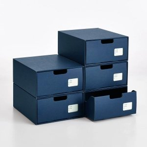 シューズケース シューズ収納用品 ベルメゾンデイズ インデックス付きクラフトシューズ収納ボックス5個セット[日本製] カラー 「ネイビー」の写真