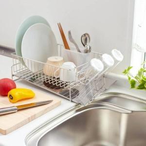 キッチンの奥に置ける水が流れる水切り ステンレス・左置き用〜スチール・右置き用 bellemaison