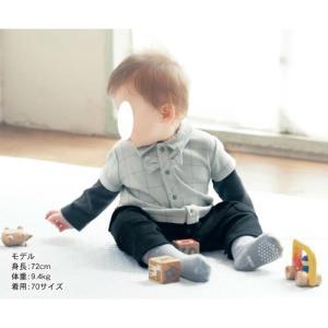 プチ エディテ ベビー服 チェックシャツレイヤード風カエルロンパース(前開き) 60〜80