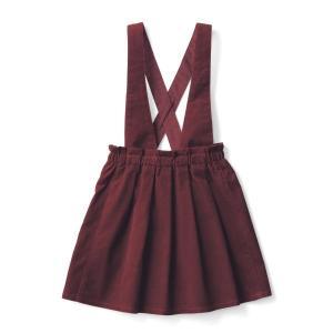 子供服 おしゃれ スカート スカッツ ベルメゾン 2WAYサスペンダー付きスカート ワインレッド|bellemaison