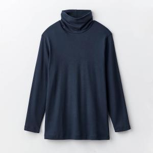 インナー 肌着 メンズ 長袖 タートルネック 綿100% 薄手 防寒 長め丈 黒 白 暖かい 冬用 秋用 吸湿 発熱 冷え対策 ムレにくい M L LL 3L ホットコットの画像