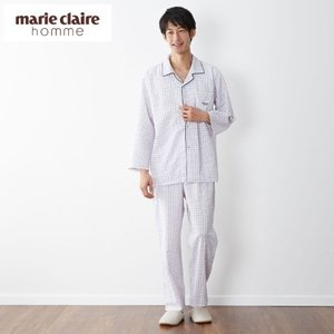 marie claire homme マリ・クレール オム メンズ サッカー素材のウィンドペン柄長袖パジャマ 「M〜LL」|bellemaison