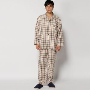 日本製 綿100%ガーゼ素材で快適 メンズ 無撚糸ガーゼ格子柄長袖パジャマ S〜3L bellemaison