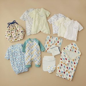 ベビー服 ツーウェイドレス 新生児肌着男児用14点セット カラー 「サックス」の画像