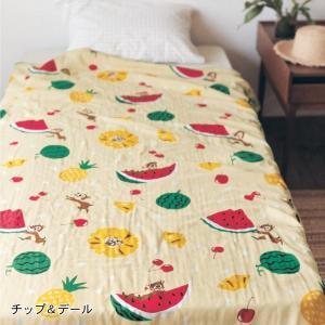 タオルケット ガーゼケット ディズニー 4重 ケット 洗える 綿100% お昼寝 チップ&デール シングル|bellemaison