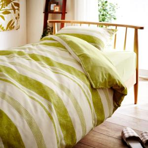 布団カバー 布団カバーセット 綿混素材の布団カバー3点セット 「グリーン」(洋式シングル・和式シングル)の写真