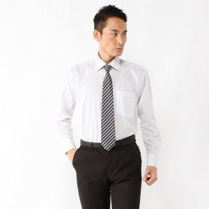 メンズ 形態安定・セミワイドカラ―ビジネスシャツ【S〜3L】 「グレー(ストライプ)」 bellemaison
