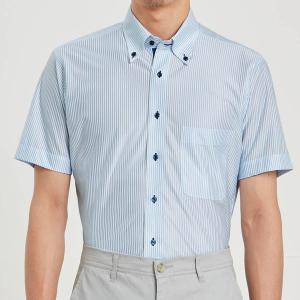 ノーアイロン速乾ビジネスボタンダウンシャツ 「サックスストライプ」|bellemaison