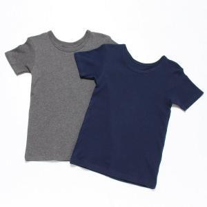 子供 肌着 パンツ ボーイズ男児スムース半袖2枚セット 「ネイビー&グレー」