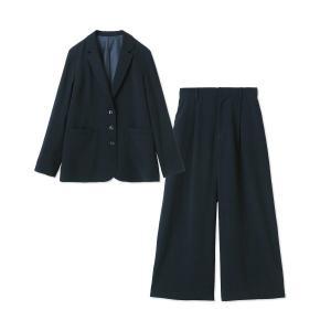 フォーマル レディース スーツ 3つボタンジャケット&ワイドパンツ2点セットスーツ 「ネイビー」