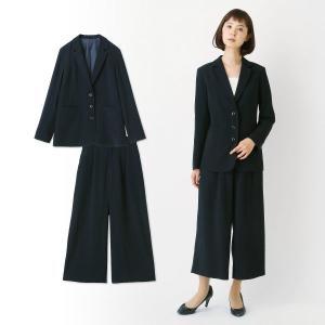 フォーマル レディース スーツ 3つボタンジャケット&ワイドパンツ2点セットスーツ 「ブラック」