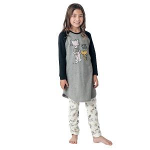子供 パジャマ W06 胸元二重スムースワンピース&裾くしゅレギンスルームウエア 「トム&ジェリー(杢グレー×ブラック)」|bellemaison