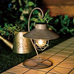 ガーデニング用品 シャビーシックなランタン風デザインのソーラーライト カラー アンティークゴールド|bellemaison