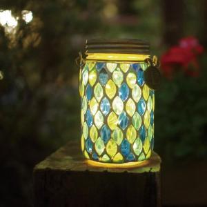 モザイクガラスのメイソンジャー型ソーラーライト カラー 「ブルードロップ」|bellemaison