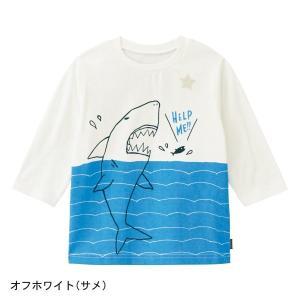 a354f47a87e1d 子供服 おしゃれ Tシャツ GITA(ジータ) 七分袖Tシャツ 「オフホワイト(サメ)」