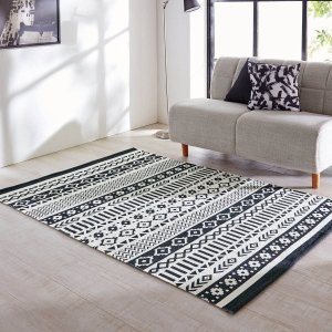 ラグ おしゃれ カーペット ストーンウォッシュしたインド綿のデザインラグ 「モノトーン」
