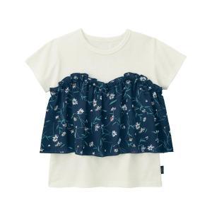 d3a40e1ae9c07 子供服 おしゃれ Tシャツ GITA(ジータ) 花柄ビスチェドッキング半袖Tシャツ 子供服 女の子  通園 通学  「オフホワイト」