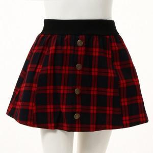 f5efb67d2eb23 子供服 おしゃれ スカート スカッツ ガールズフリースパンツ裏付きスカート ジュニア服 「赤(チェック柄)」