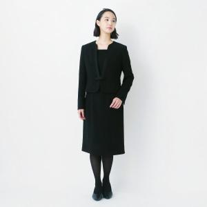 フォーマル レディース 喪服 礼服 ブラックフォーマル スーツ すっきりVカラーブラックフォーマル2...