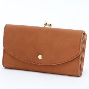 f723cf269099 財布 レディース 長財布 フェイクレザーがま口長財布 カラー 「キャメル」