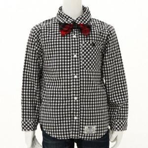 子供服 おしゃれ ブラウス シャツ ボーイズ蝶ネクタイ付き長袖シャツ 「ブラック」
