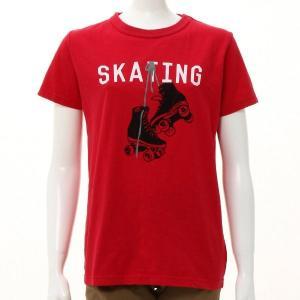 子供服 おしゃれ Tシャツ 親子でお揃い!ROLLERSKATE半袖Tシャツ 「レッド」