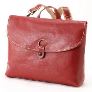 5bbc05e9b7f4 バッグ カバン 鞄 レディース リュック A4サイズ収納可能横型レザーリュック カラー 「レッド」