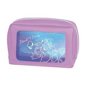 文房具 ステーショナリー クリアタイプのボックス型ペンポーチ カラー 「ドナルド&デイジー」