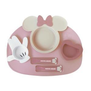 ベビー用食器 ディズニー アイコン ランチプレートセット カラー 「ミニーマウス(ピンク×ベージュ)...