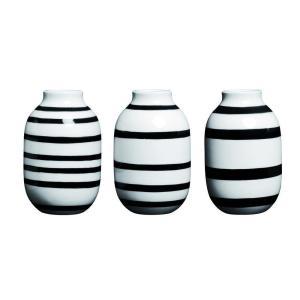 花瓶 陶磁器 おしゃれ ギフト 一輪挿し 北欧 ケーラー Kahler Omaggio vase ミニ(3個セット) ブラック 12800 フラワーベース 日本正規代理店品 bellemessage