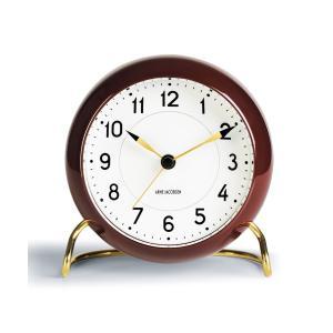 (10/18発売) 置き時計 北欧 アルネ・ヤコブセン テーブルクロック ステーション(限定 復活カラー)  バーガンディー 43676 日本正規代理店品|bellemessage
