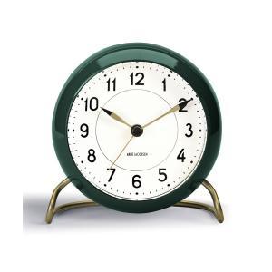 (10/18発売) 置き時計 北欧 アルネ・ヤコブセン テーブルクロック ステーション(限定 復活カラー)  グリーン 43677 日本正規代理店品|bellemessage