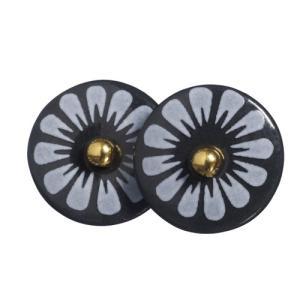 北欧雑貨 アクセサリー 磁器 ピアス シェアニング Scherning BLACK FLOWER ピンピアス  ブラック BL-1101-003 デンマーク bellemessage