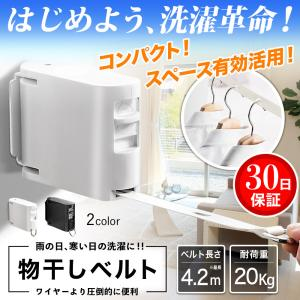 物干し 室内 ワイヤー ベルト 洗濯物 部屋干し 収縮 コンパクト スリム 壁付 ロープ 工事不要