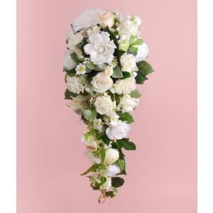 結婚式 ブライダル 前撮り送料無料 プリザーブドフラワー キャスケードブーケ #ガーデニア ◆boq|belles-fleurs