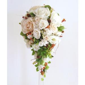 結婚式 ブライダル 前撮り送料無料 プリザーブドフラワー セミキャスケードブーケ #ベリー  ◆boq|belles-fleurs