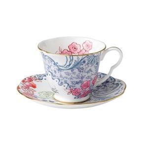 ウェッジウッド バタフライ ブルーム ティーカップ&ソーサー ブルー&ピンク